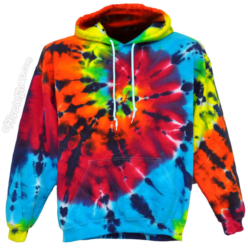 tie dye rainbow shooter hoodie on sale from hippie shop. Black Bedroom Furniture Sets. Home Design Ideas