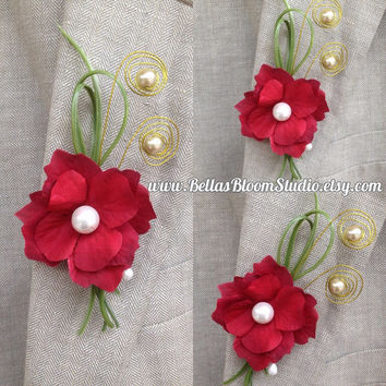 Wire Red Boutonniere Mens lapel pin Red Grooms boutonniere red Flower pin Prom boutonniere Corsage Lapel pin Wedding boutonniere red etsy