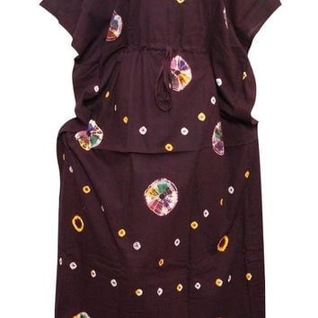 Womens Kaftan Caftans Cotton Printed Maroon Batik Lounger One Size