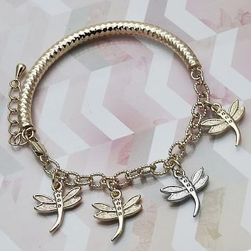 Gold Layered Women Dragon-Fly Charm Bracelet, by Folks Jewelry