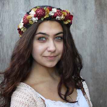 Vintage Flower Crown - Pink, Green, Ivory and Black Floral Headpiece. Bohemian Crown, Autumn Wedding, Bridal Flower Crown, Festival Crown