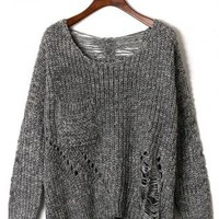Grey Shredded Long Sleeve Knit Sweater with Front Pocket