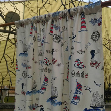 Nautical Curtain Nursey Curtain Custom Curtain Sailor Curtain Baby Boy Curtain Curtain Panels with Starfish Anchor Lighthouse Seahorse Gulls