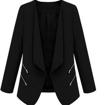 IMC Vintage Women Basic Slim Suit Foldable Blazer Slim Fit Jacket Cardigan Outwear