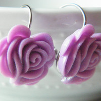 Bridesmaid Earrings, Rose Lever Back Earrings