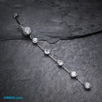 Elegant Crystalline Droplets Belly Button Ring