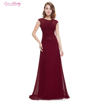 Wedding Party Dress Ever Pretty 2016 New Arrival HE08369 Women Trailing Round Neck Long Elegant  Sexy Bridesmaid Party Dress