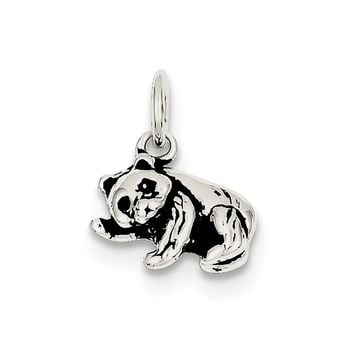 925 Sterling Silver Antiqued Panda Bear Charm and Pendant