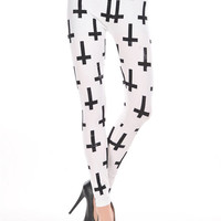 Womens girl Black Cross Leggings Tights Rock Punk White Pants summer autumn, mon gift