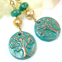 Tree of Life Earrings, Dangly Tree Earrings, Turquoise Bronze Tree Earrings, Nature Inspired Boho Woodland Jewelry, Pearl Gemstone, Unique