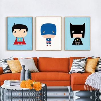 Batman Dark Knight gift Christmas Modern Superhero Canvas Painting Cartoon Superman Batman Art Prints Poster Marvel Wall Decor Pictures For Child Room Unframed AT_71_6