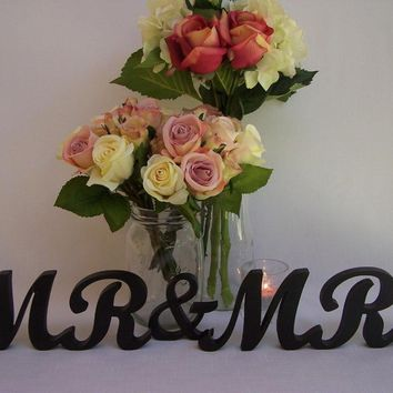 Mr & Mrs Wooden Letters Painted Black