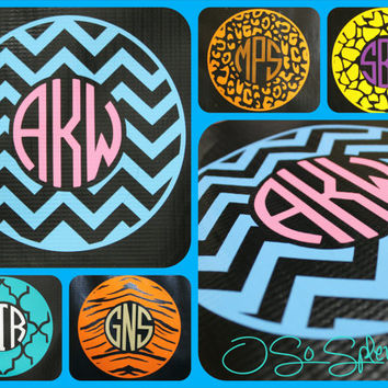 "35 Colors To Choose from - 6"" Custom Circle Monogram Car Decal - Chevron Outer Circle - Personalized Sticker - Zigzag"