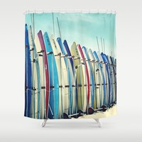 California surfboards Shower Curtain by sylviacookphotography