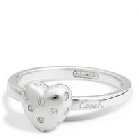 Coach :: Sterling Pave Heart Script Ring