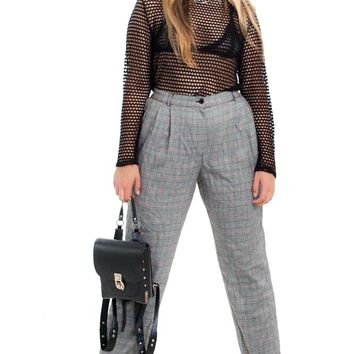 Vintage 90's Red, White, and Black Houndstooth Trousers - M/L