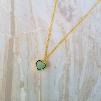 Heart Charm Necklace- 16k gold plated