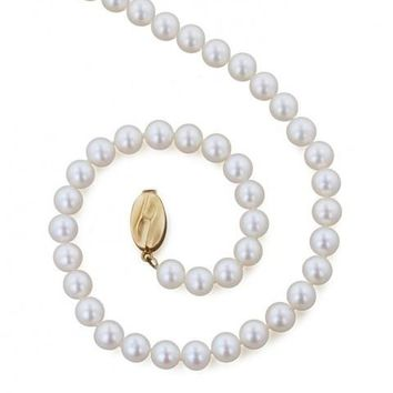 "Honora 6MM White Freshwater Cultured Pearl 16"" Necklace Featuring a 14K Yellow Gold Clasp"