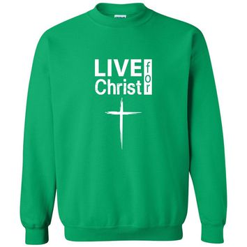 Live For Christ Christian Crewneck Unisex Sweatshirt