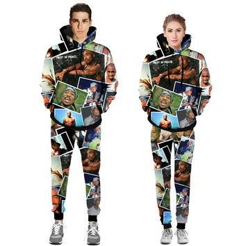 Hip Hop Hoodies Men/Women Tracksuits Sets 3d Sweatshirts Print 2pac Tupac Hooded Hoodies Long Pant