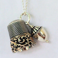 Peter Pan Thimble and Acorn Kiss Necklace Peter Pan and Wendy in Solid Sterling Silver - Second Star Right