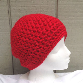 Red crochet beanie - Womens red hat - Chunky red beanie - Bulky crochet hat - Teens red beanie