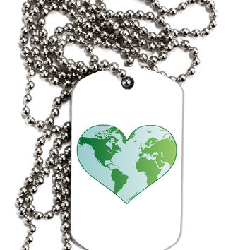 TooLoud World Globe Heart Adult Dog Tag Chain Necklace