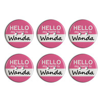 Wanda Hello My Name Is Plastic Resin Button Set of 6