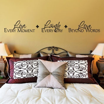 Live Laugh Love Beautiful Words Black Art Mural Vinyl Decals Wall Sticker SM6