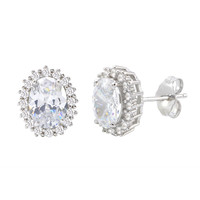 Sterling Silver Halo Oval Cubic Zirconia Stud Earrings Micropave 11mm x 10mm