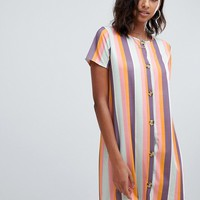 PrettyLittleThing button through t-shirt dress in stripe | ASOS