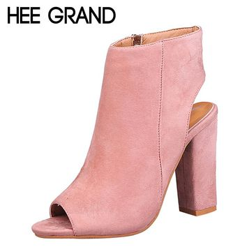 HEE GRAND Peep Toe High Heels Ankle Boots Faux Suede Leather Casual Fashion Rubber Shoes Women 3 Corlors Plus Size 35-43 XWZ4537