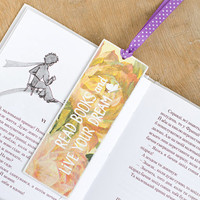 "Custom Buttefly Bookmark with message ""Read books and live your dream"""