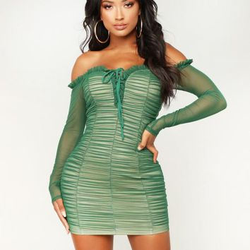 Fashion New Solid Color Strapless Long Sleeve Dress Women Green