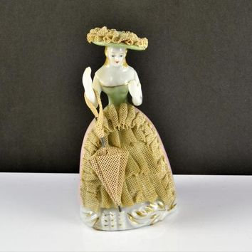 Dresden Lace Figurine Woman w/ Parasol Umbrella Hat Occupied Japan Colonial Victorian Renaissance Porcelain Pink 1 Dress