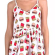 White Burger and Fries Print Rompers with Pom Deco