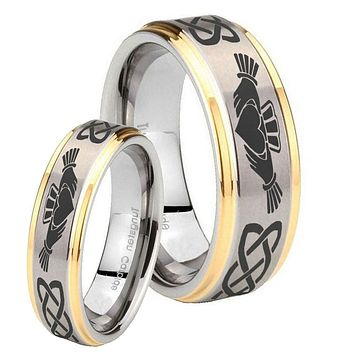 His Hers Step Edge Irish Claddagh 14K Gold 2 Tone Tungsten Wedding Rings Set
