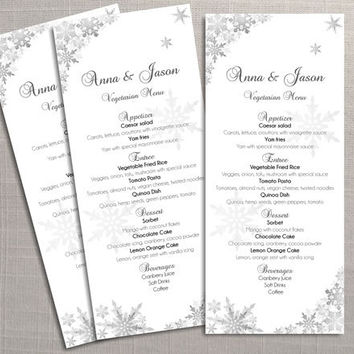 DIY Printable Wedding Menu Template | Editable MS Word file | 4 x 9.25 | Instant Download | Winter Silver Snowflakes