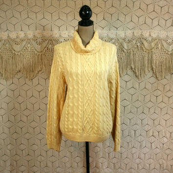 Womens Cable Knit Sweater Yellow Chunky Turtleneck Cotton Pullover Sweater Womens Turtleneck Womens Sweaters Yellow Sweater Womens Clothing