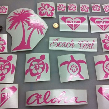 South beach car decal sticker turtle pink girl aloha hibiscus flowers ocean surf paddle board sup