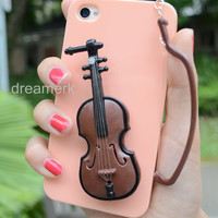 3D voilin iphone 4/4S case & FREE violin bow dust cap