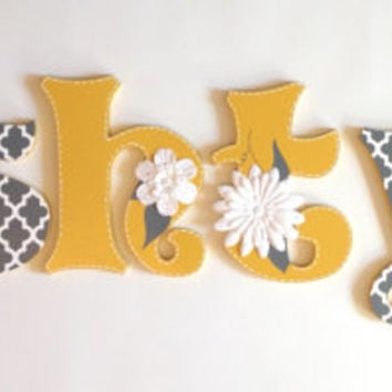 Hand Painted Wooden Wall Letters for Nurseries and Kids Rooms - Theme Inspired By Stella Peanut Shell Bedding Infant and Toddlers Flowers