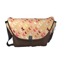 Butterflies, orange, yellow and coral courier bag