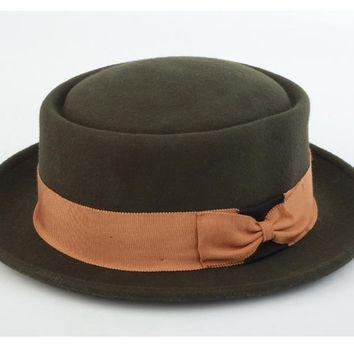 FS Men's Wide Brim 100% Wool Fedora Hat