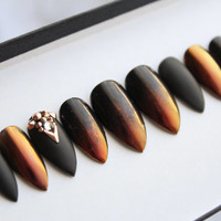 Ombre Duo Chrome Press on Nails   Swarovski   Rose Gold   Handpainted Nail Art   Glue On Nails   Any Shape and Size