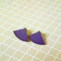 Vintage Blue Triangle Earrings from the 1980s