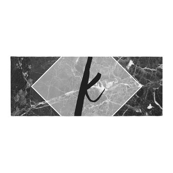 "KESS Original ""Black Marble Monogram"" Bed Runner"