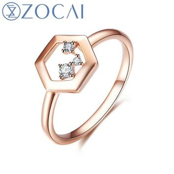ZOCAI Brang Ring The Honeycomb Series Real 0.05 CT Diamond Ring 18K Rose Gold (Au750) JBW90224T
