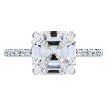 Asscher Moissanite 4 Prongs Diamond Accent Ice Cathedral Solitaire Ring