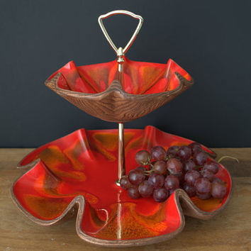 Red Glazed Serving Tray, California Pottery Drip Glaze, 2-Tiered Tidbit Tray - Mint Condtition